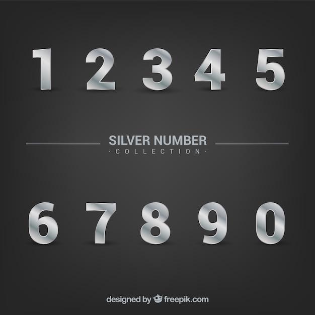 Nummerverzameling met zilveren stijl Gratis Vector