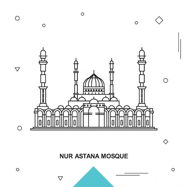 Nur astana moskee Premium Vector