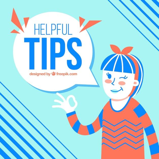 Nuttige tips samenstelling met jonge vrouw Premium Vector