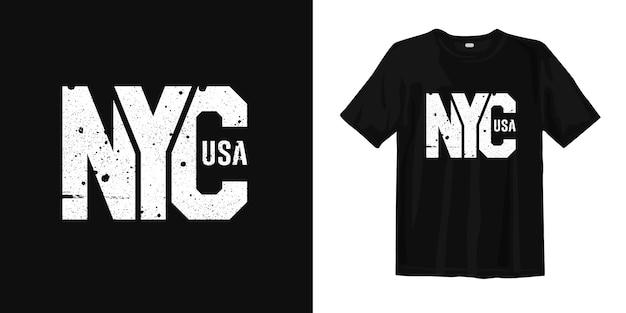 Nyc new york city of usa t-shirt stedelijke stijl slijtage Premium Vector