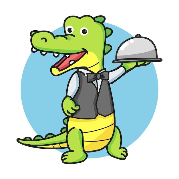 Ober crocodile cartoon mascotte karakter houden een zilveren koepel of cloche. Premium Vector
