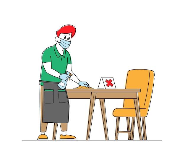 Ober karakter dragen beschermend gezichtsmasker en handschoenen desinfecteert tafels in café of restaurant Premium Vector