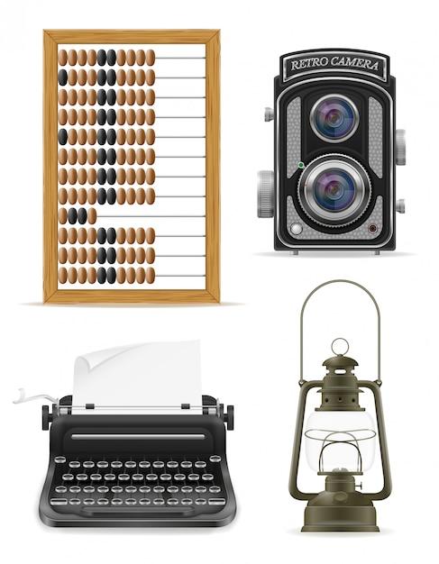 Objecten oude retro vintage elementen vector illustratie Premium Vector
