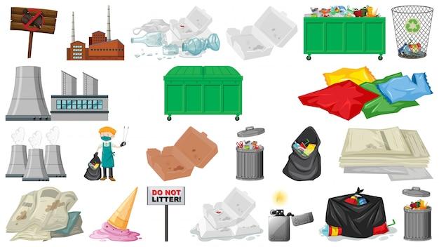 Objecten voor vervuiling, afval, afval en afval worden geïsoleerd Gratis Vector