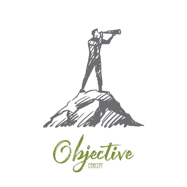 Objectieve illustratie in de hand getekend Premium Vector