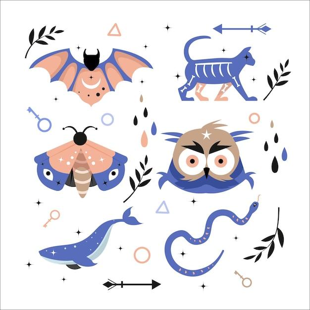 Occulte esoterische dieren en elementen Gratis Vector