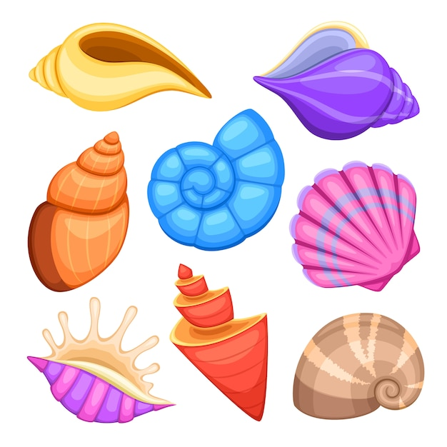 Oceaan cockleshells. cartoon zeeschelpen vectorinzameling. illustratie van zee cockleshells Premium Vector