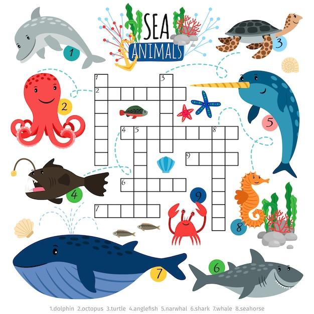 Oceaan dieren kruiswoordraadsels spel voor kinderen Premium Vector