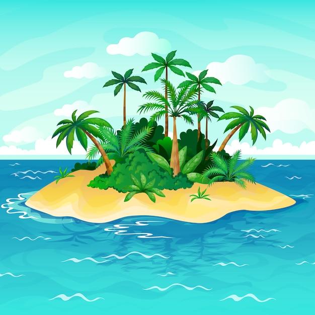 Oceaan eiland cartoon. palmbomen zee onbewoond eilanden hemel zandstrand strand panorama uitzicht eenzaamheid tropische natuur illustratie Premium Vector