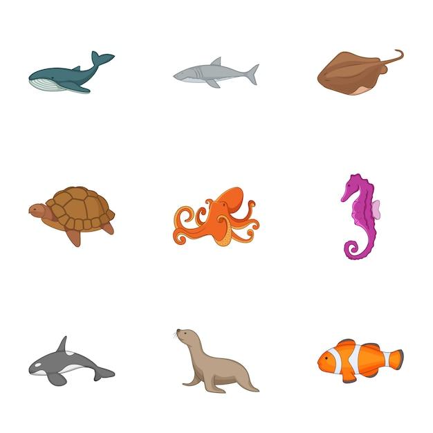 Oceaan leven iconen set, cartoon stijl Premium Vector