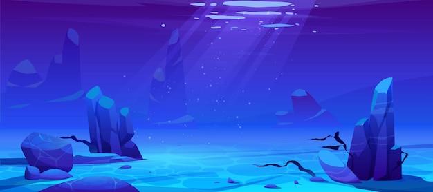 Oceaan of zee onderwater achtergrond. lege bodem Gratis Vector