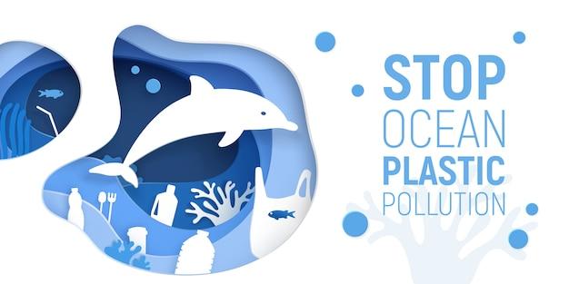 Oceaan plastic vervuiling. papier gesneden onderwater achtergrond met plastic afval, dolfijnen en koraalriffen. Premium Vector