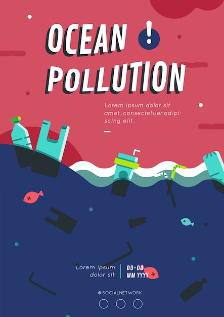 Oceaan vervuiling poster lay-out Premium Vector