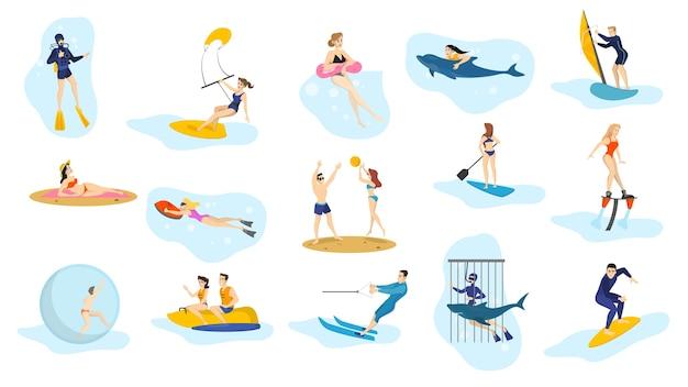 Oceaan zomeractiviteiten ingesteld. watersport, vakantie Premium Vector