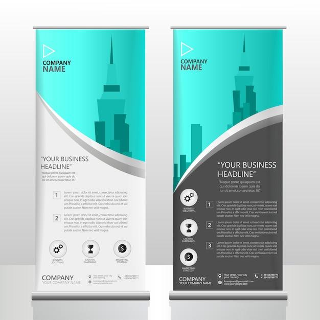Oceaanblauw opvouwbare brochure folderstandaard sjabloonontwerp Premium Vector