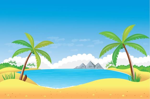 Oceaanscène met kokospalm op strand en de zonillustratie Premium Vector