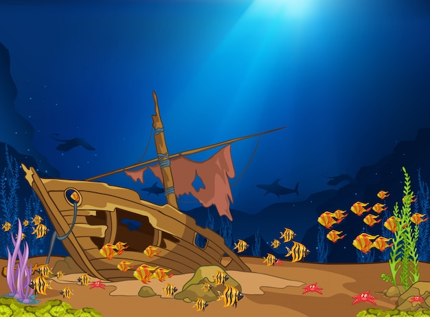 Ocean underwater world Premium Vector