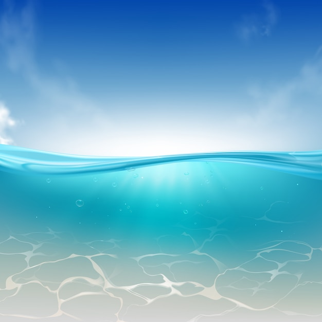 Oceanische golf, zeewaterkolom realistische achtergrond Gratis Vector