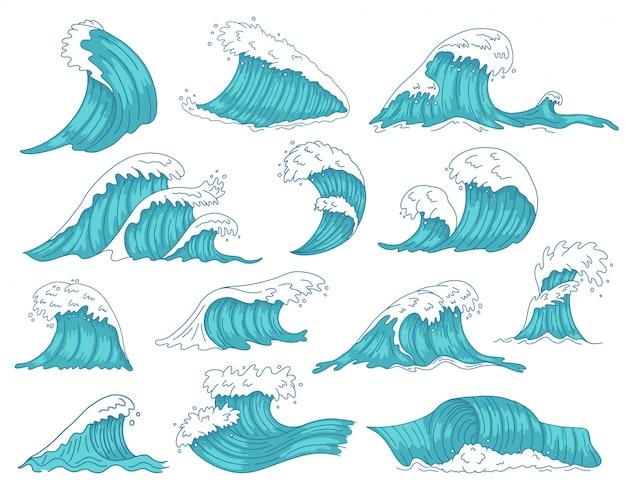 Oceanische golven. zee hand getrokken tsunami of storm golven, zeewaterschacht, oceaan strand surfen golven illustratie pictogrammen instellen. tsunami storm, zeegolfbeweging Premium Vector