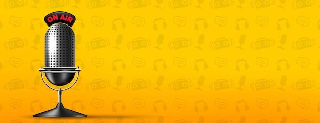 Ochtend op lucht radio stream banner Gratis Vector