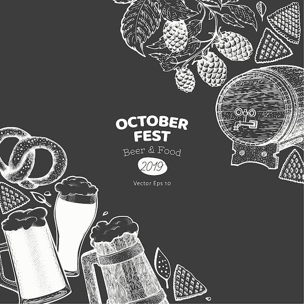 Octoberfest banner. hand getekende illustraties op schoolbord. Premium Vector