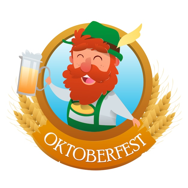 Octoberfest festival en bierpullen banner Premium Vector