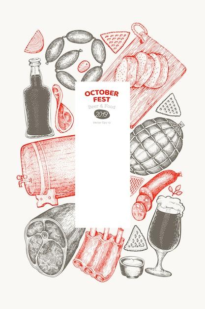 Octoberfest-kaart Premium Vector