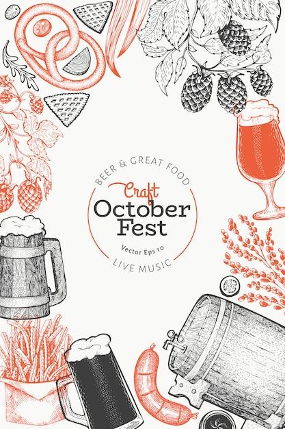 Octoberfest-sjabloon. hand getekende illustraties. Premium Vector