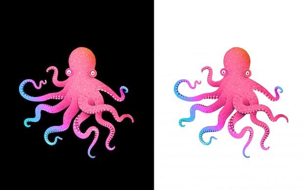 Octopus kleurrijke futuristische karakter ontwerp felgekleurde zure verlopen kunstdruk. Premium Vector