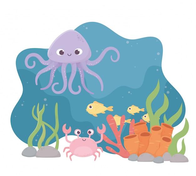 Octopus krab vissen cartoon leven koraalrif onder de zee Premium Vector