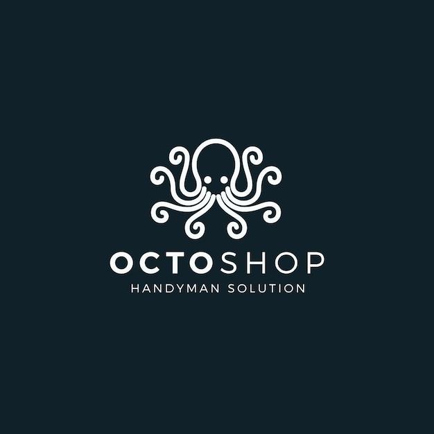 Octopus logo sjabloonstijl Premium Vector