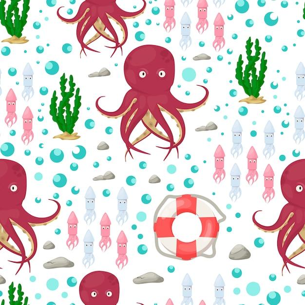 Octopus tentakels zee dier naadloze patroon Premium Vector