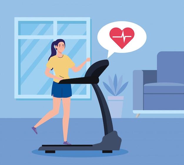 Oefening thuis, vrouw draait op loopband, het huis gebruiken als een sportschool Premium Vector