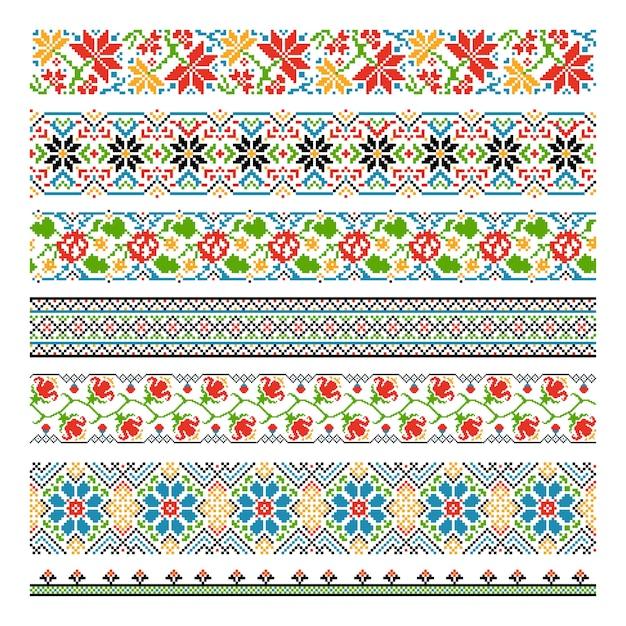 Oekraïense etnische nationale grens naadloze patronen voor borduursteek Gratis Vector