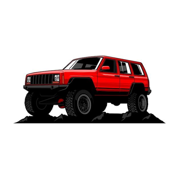 Off road car illustratie Premium Vector