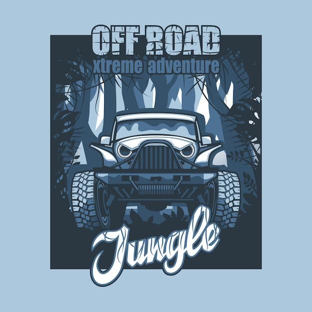 Off road extreme adventure jungle, suv-poster op de achtergrond van ondoordringbare bossen. Premium Vector