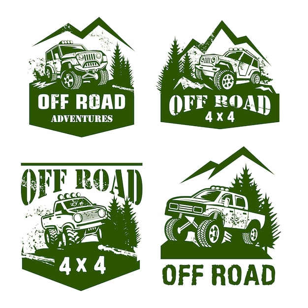 Off road logo sjabloon set Premium Vector