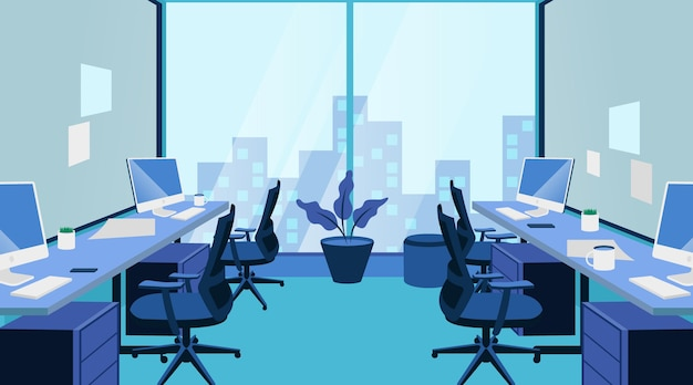 Office - achtergrond voor videoconferenties Gratis Vector