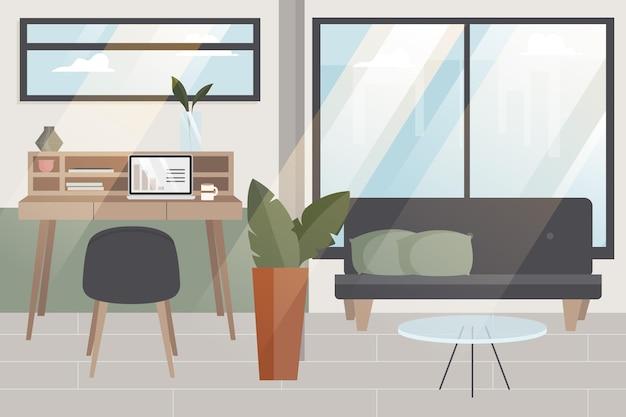 Office-achtergrond voor videoconferenties Gratis Vector