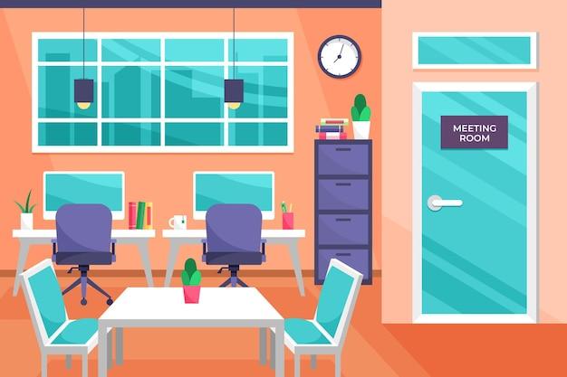 Office-achtergrond voor videogesprek Gratis Vector
