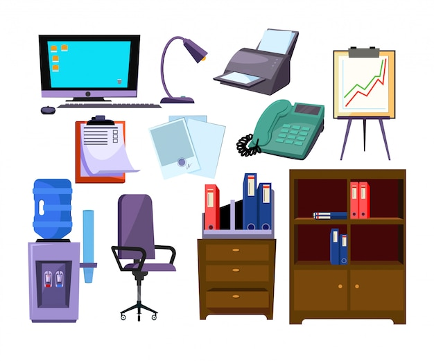 Office-attributen illustratie set Gratis Vector