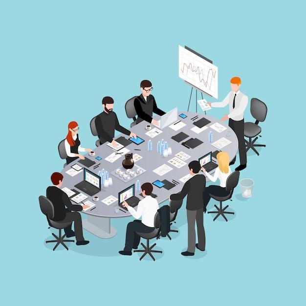 Office-conferentie isometrisch ontwerp Gratis Vector