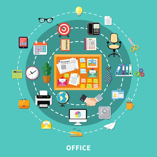 Office decoratieve pictogrammen instellen in cirkel volgorde Gratis Vector