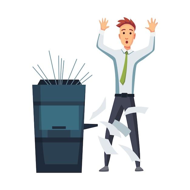 Office-documenten kopieerapparaat. beambte drukt documenten af op het kopieerapparaat. Premium Vector
