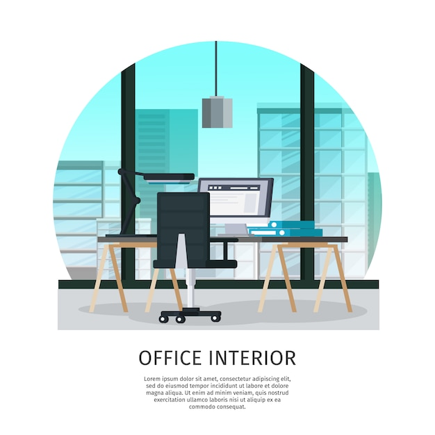 Office interieur sjabloon Gratis Vector