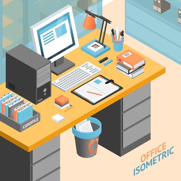 Office kamer isometrische ontwerpconcept illustratie Gratis Vector