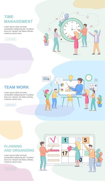 Office lifestyle horizontale websjablonen set. tijdsbeheer Premium Vector