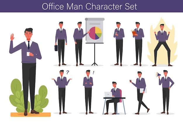 Office man karakter met expressie en hand ingesteld Premium Vector