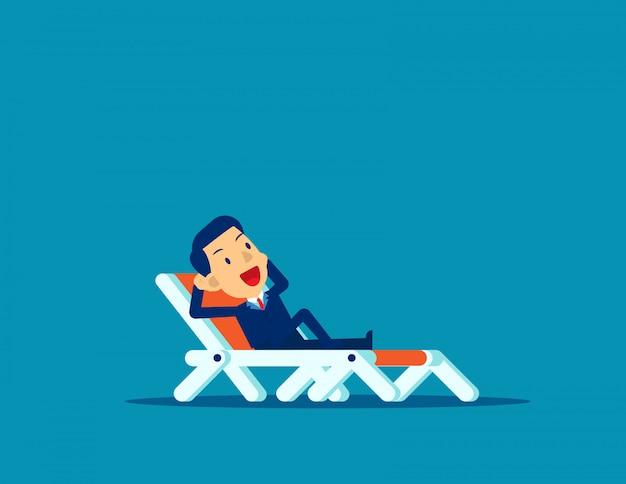 Office man ontspannen. zakelijke vakantie Premium Vector