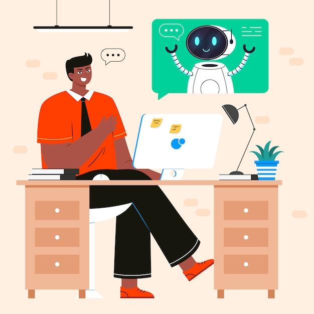 Office man praten met robot geïsoleerd. gesprek tussen man en android, dialoog met kunstmatige intelligentie. concept van chatbot, technische ondersteuning. Premium Vector